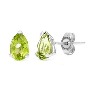 Kabella 14k White Gold Pear Peridot Stud Earring