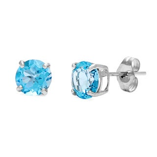 Kabella 14k White Gold Round Blue Topaz Stud Earrings
