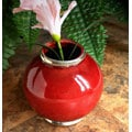 Urban Ceramic Vase with Silvertone Trim (Morocco)