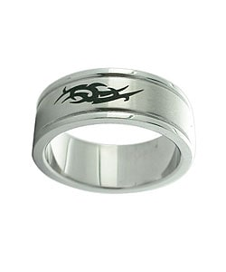 Stainless Steel Black-plated Tribal Design Ring (Set of 2)