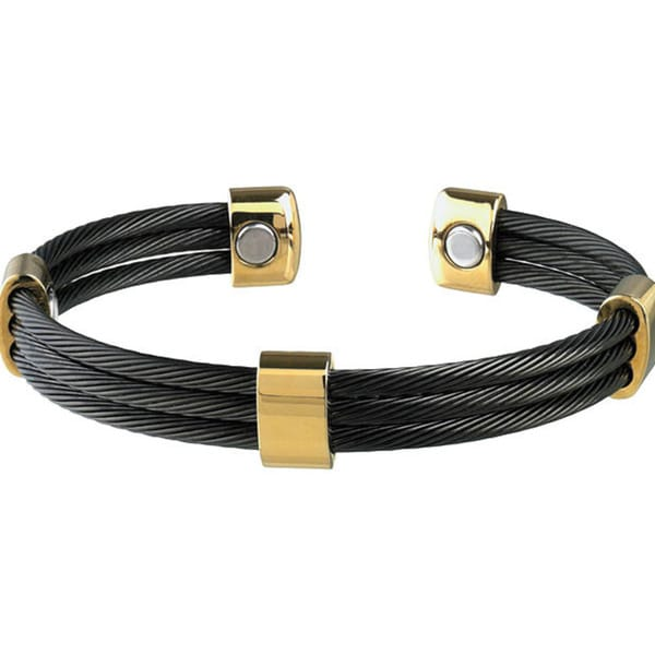 Sabona Trio Cable Black and Gold Magnetic Bracelet