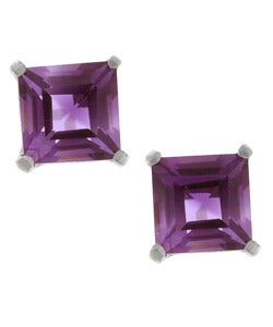 Kabella 14k White Gold Amethyst Gemstone Stud Earrings