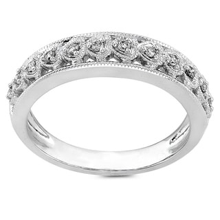 Annello 14k White Gold 1/10ct TDW Round Diamond Heart Band (H-I, I1-I2)