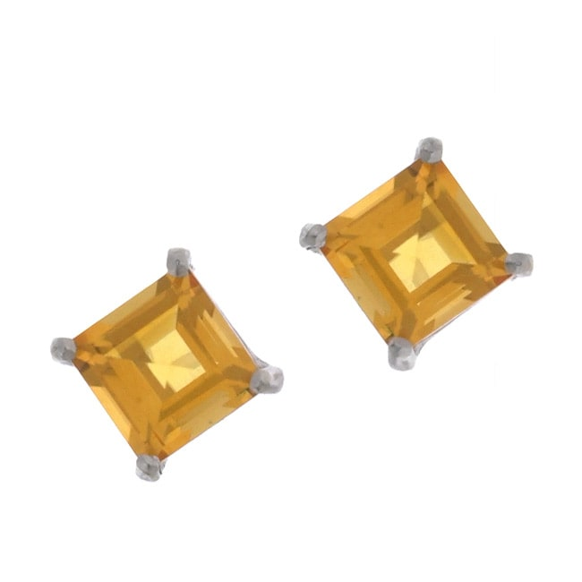 Kabella 14k White Gold Square Citrine Stud Earrings