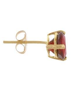 Kabella 14k Yellow Gold Triangular Garnet Stud Earrings