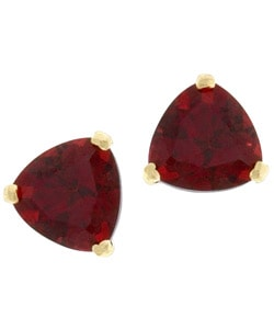 Kabella 14k Yellow Gold Triangular Garnet Stud Earrings