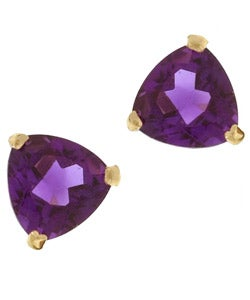Kabella 14k Yellow Gold Amethyst Trillion Stud Earrings