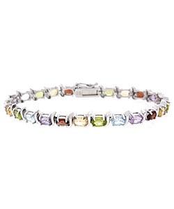 Glitzy Rocks Sterling Silver Multi-stone Semi-precious Bracelet