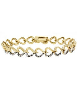 DB Designs 18k Gold Overlay Heart-link Diamond Accent Bracelet