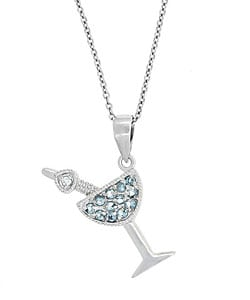 Icz Stonez Sterling Silver Light Blue CZ Martini Necklace