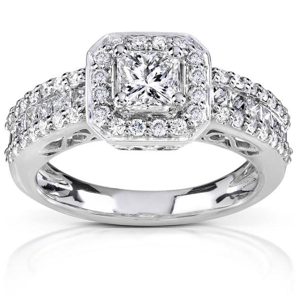 Annello 14k White Gold 1 1/4ct TDW Diamond Halo Engagement Ring (H-I, I1-I2)
