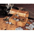 American Coin TreasuresHistoric Wooden Treasure Chest of 50 Old US Coins