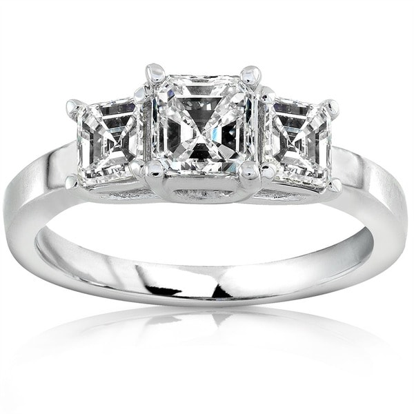 Annello 14k Gold 1ct TDW Asscher Diamond Engagement Ring (H-I, SI)