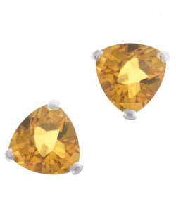 Kabella 14k White Gold Trillion Citrine Stud Earring