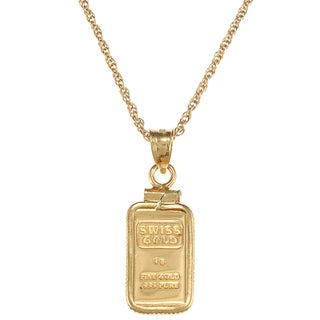 American Coin Treasures 1-gram Gold Ingot Pendant Necklace