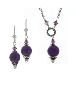 Charming Life Sterling Silver Amethyst Necklace and Earring Set