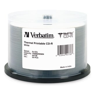 Verbatim MediDisc CD-R 700MB 52X White Thermal Printable with Branded
