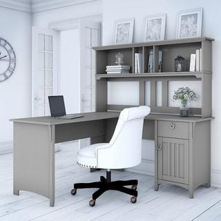 The Gray Barn Lowbridge Cape Cod Grey L-shaped Desk with Hutch