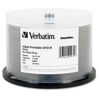 Verbatim DVD-R 8X DataLifePlus White Inkjet Printable - 50pk Spindle
