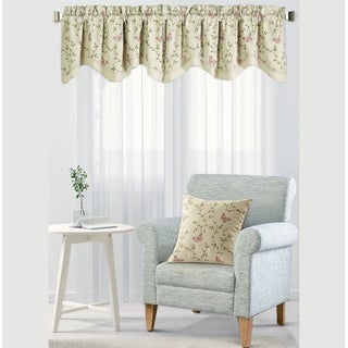 "Serenta Butterfly Embroidery Window Valance & Pillow Shell Set - 56"" x 19"""