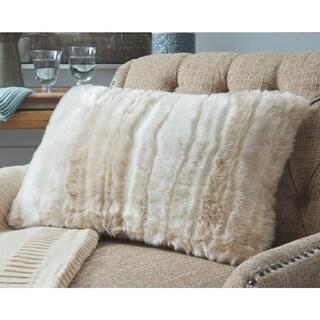Amoret Tan Faux Fur Throw Pillow