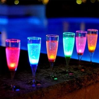 Modern Home Set of 6 Color LED Champagne Glasses