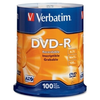 Verbatim 95102 DVD Recordable Media - DVD-R - 16x - 4.70 GB - 100 Pac
