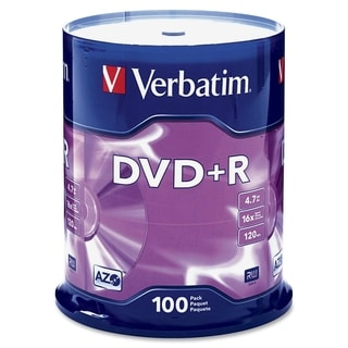 Verbatim 95098 DVD Recordable Media - DVD+R - 16x - 4.70 GB - 100 Pac