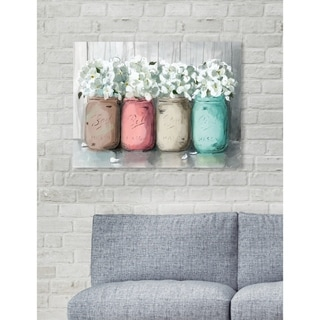 Oliver Gal 'Mason Jar Turquoise' Floral and Botanical Wall Art Canvas Print - Blue, Pink