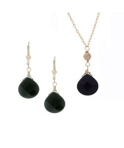 Charming Life 14k Goldfill Black Onyx Necklace and Earring Set
