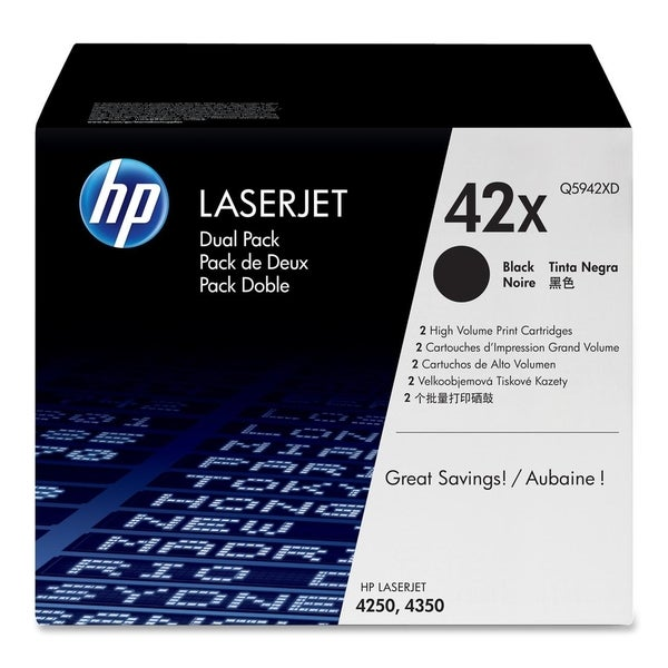 HP 42X (Q5942XD) 2-pack High Yield Black Original LaserJet Toner Cart