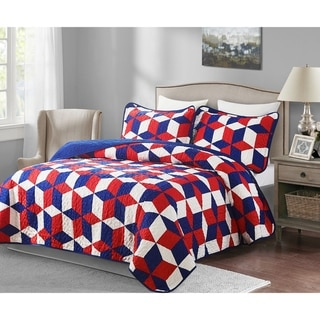 3 piece Patriotic Oversized King Quilt Set - America
