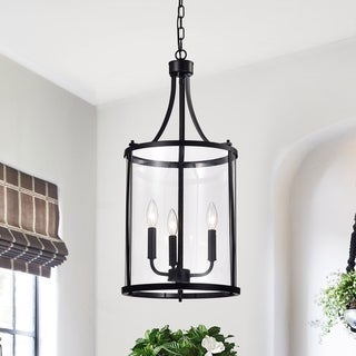 Hanma Matte Black 3-light Candelabra Pendant Lantern