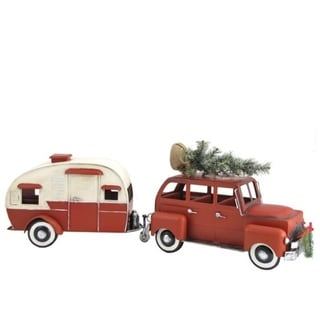 Red Car with Christmas Tree and Camper
