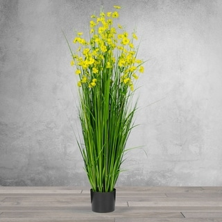 5 Feet High Artificial with Decorative Yellow Flowers - Black