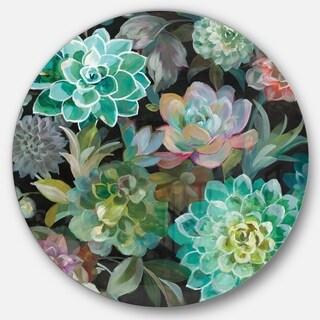 Designart 'Floral Succulents' Farmhouse Metal Circle Wall Art