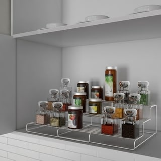 Spice Rack-Adjustable, Expandable 3 Tier Organizer for Counter, Cabinet, Pantry-Storage Shelves by Lavish Home