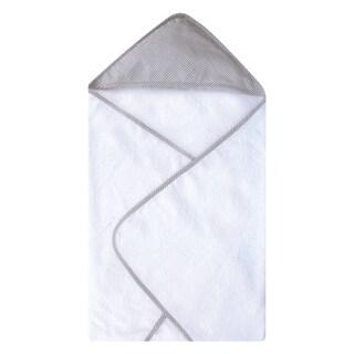 Gingham Seersucker Gray Deluxe Hooded Towel