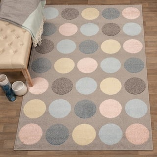 Miranda Haus Designer Pastel Polka Dot Area Rug