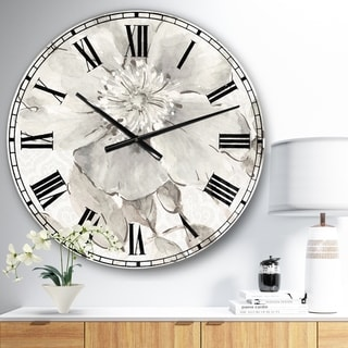 The Gray Barn Jartop 'Indigold Grey Peonies II' Farmhouse Oversized Metal Clock