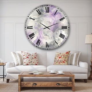 Porch & Den Watercolor Minimal Purple Tones III' Modern Farmhouse Oversized Metal Clock