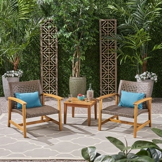 Hampton Outdoor 3 Piece Wood and Wicker Club Chairs and Side Table Set by Christopher Knight Home