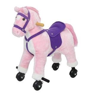 Kinbor Kids Rocking Horse Animal Plush Toy Ride On Toy w/ Casters Children's Day Birthday Gift