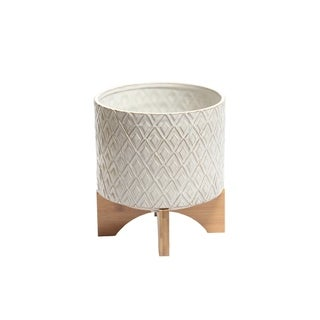 Diamond Patterned Ceramic Flower Pot with Wooden Stand, Large, White and Brown