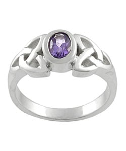 Tressa Sterling Silver Celtic Knot Amethyst Fashion Ring