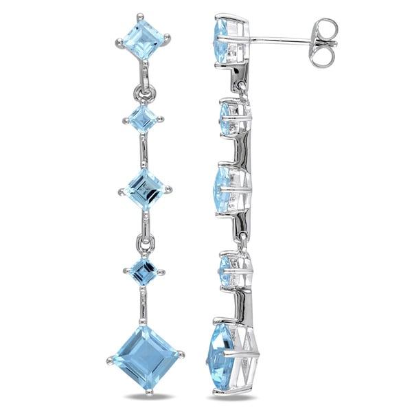 Miadora Sterling Silver Square Blue Topaz Earrings