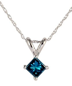 14k White Gold 3/8ct TDW Blue Diamond Solitare Pendant