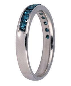 14k White Gold 1/2ct TDW Blue Diamond Channel Band