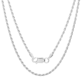 Sterling Essentials Sterling Silver 24-inch Diamond-Cut Rope Chain (1.5mm)