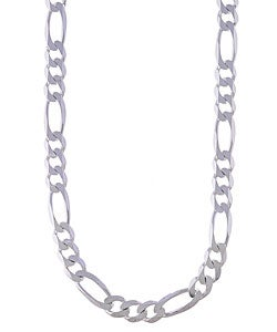 Sterling Essentials Sterling Silver 9.5mm Diamond-Cut Figaro Chain (24-inch)